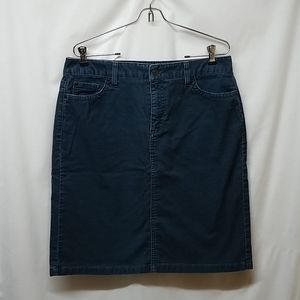 L.L. Bean- Blue Corduroy Skirt